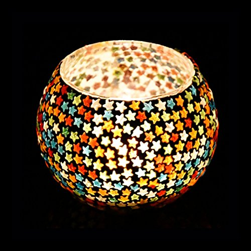 iHandikart Mosaic Glass Round Tealight Candle Holder, Mosaic Design for Home and Festive Decor (Pack of 1) IHK9277