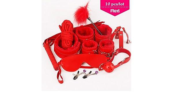 Adulte-sexuelle-toys-Menottes Menottes-Bondage-Fouet-Corde Cou-bandage-Rouge//Rose//Noir
