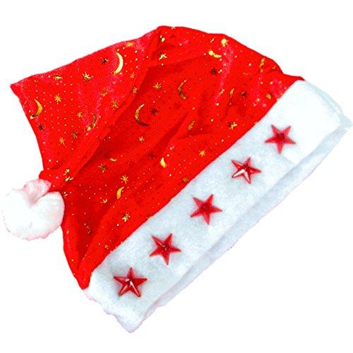SANS Leuchtende Weihnachtsmütze Weihnachtsmann-Kostüm mit LED