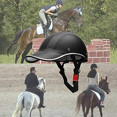 poetryer Damen Und Herren Reitmützen Helme Unisex Einstellbare Reithelm Helm Mit PU Lederband - Schwarz
