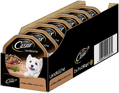Cesar Hundefutter Nassfutter Landküche Pute & Rind, 7 er Pack, (7 x 2 Schalen x 150 g)