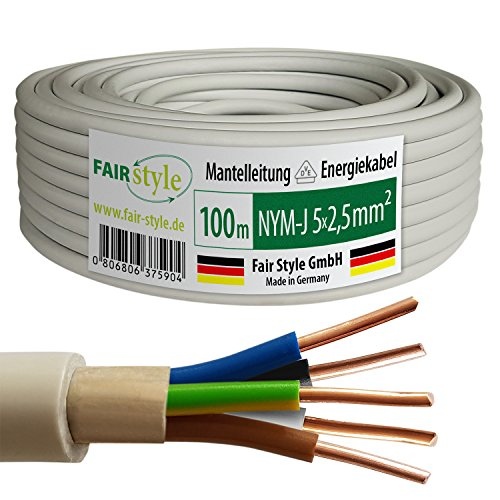 100m NYM-J 5x2,5 mm² Mantelleitung Elektro Strom Kabel OFC MADE IN GERMANY, Model 9114