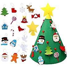 AerWo DIY Set de árbol de Navidad con Fieltro con 26 Adornos Año niños Navidad Decoraciones