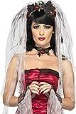 Smiffys Déguisement Femme, Kit de la mariée gothique, avec voile roseet crâne, ras-de-couet gants, 23343