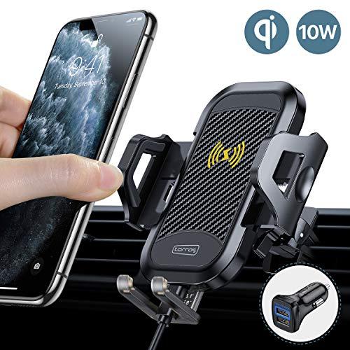 TORRAS Handyhalter fürs Auto Wireless Charger 2020 Upgrade Kit mit Auto Ladegerät 2 Lüftungsclips Qi 7,5W/10W Fast Charging Auto Handyhalterung für iPhone 11 XS XR Samsung Galaxy S20 S10 Note10+ Usw