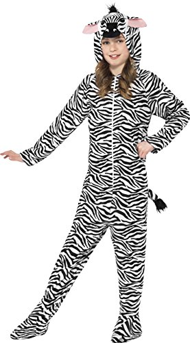 Smiffys Kinder Unisex Zebra Kostüm, All-in-One mit Kapuze, Größe: M, 27990