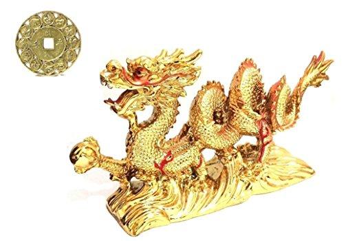 Groß Gold Chinesischer Feng Shui Drache Figur Statue für Glück & Erfolg 21,6cm lang mit Lucky Sternzeichen Medaille