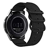 MoKo Armband Kompatibel für Samsung Gear S3/Gear S3 Classic/Frontier/Galaxy Watch 46mm/Moto 360 2nd 46mm, NATO Nylon Uhrenarmband Ersatzarmband Handgelenk Band Strap Geeignet - Schwarz