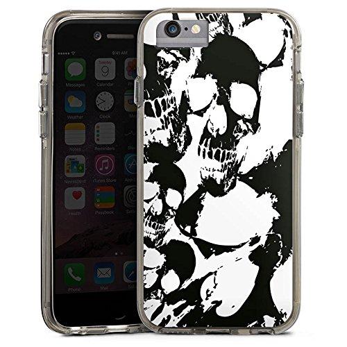 Apple iPhone 8 Bumper Hülle Bumper Case Glitzer Hülle Skull Gothic Bumper Case transparent grau