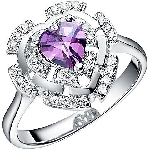 Bling Fashion placcati in oro bianco 18 k, con anelli a forma di cuore, con Design a forma di cuore, colore: