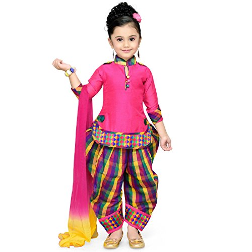 Aarika Girl's Self Design Cotton Silk Ethnic Kurti, Patiala and Dupatta Set...