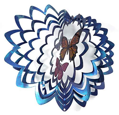 shipityourway 3D Wind Spinner Schmetterling Trio Blau Bunte Pulver, Metall Yard Kunst, Twister und Swivel Haken