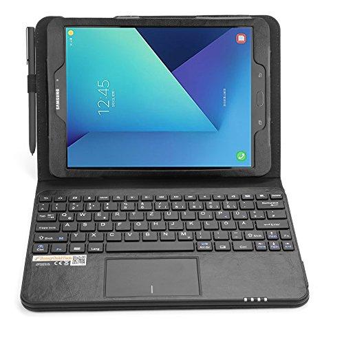 SonnyGoldTech MQ für Galaxy Tab S3 9.7 - Bluetooth Tastatur Tasche mit Multifunktions-Touchpad für Samsung Galaxy Tab S3 9.7 | Hülle mit Bluetooth Tastatur und integriertem Touchpad für Samsung Galaxy Tab S3 LTE SM-T825, Galaxy Tab S3 WiFi SM-T820 | Layout QWERTZ | Schwarz