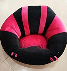 CLICK4DEAL Kid's Soft Plush Cushion Cotton Sofa Seat (Pink&Black_BabySeat)