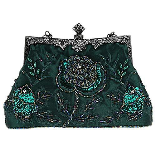 MMYOMI Vintage Floral Perlen Strass Stickerei Kupplung Pailletten Hochzeit Prom Bag Bridal Damen Crossbody Abend Handtasche (Grün) - Vintage Perlen Handtasche