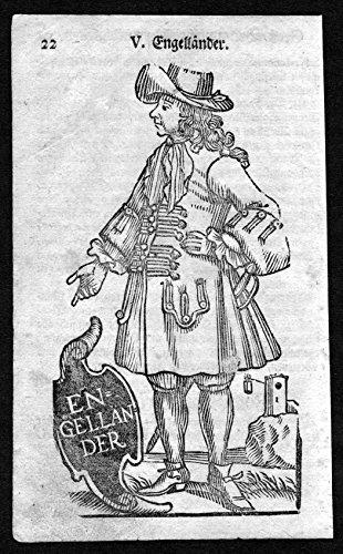 Engelländer - England Großbritannien Great Britain Tracht Trachten costumes Holzschnitt antique (Von Großbritannien Tracht)