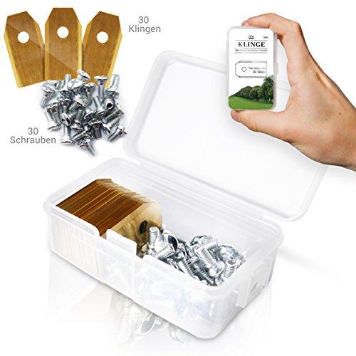 30x Titan Messer Klingen lange haltbar für alle Husqvarna® Automower® / Gardena® Mähroboter - [3g - 0,75mm] + 30 Schrauben - Gratis eBook - Typ 105, 310, 315, 320, 420, 430x, r40i und mehr