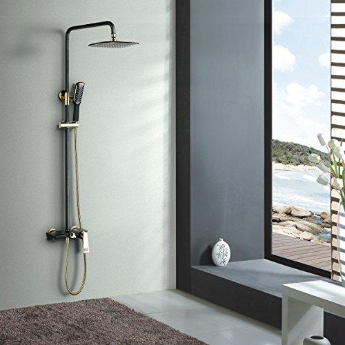 BONADE Schwarz Duschsystem Duschset mit eckig Regendusche Überkopfbrause Handbrause und Wasserhahn Duschstangen Rainshower Set Erste-klasse-wandhalterung