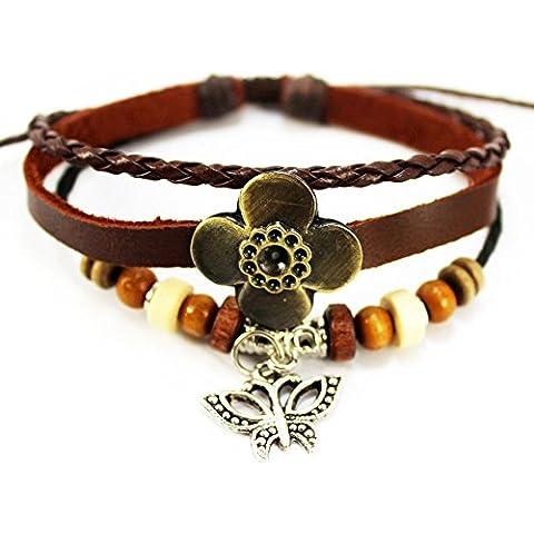 Real Spark único trenzado pulsera de cuero madera cuentas Clover Charm colgante mariposa Wrap