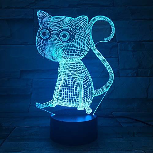 OSVD Abstrakte große Augen 3D Katzen-Nachtlichter führten Tischlampe als Inneneinrichtung 7 Farbänderungs-Noten-Steuerung mit Batteriekasten und USB-Direktübertragung
