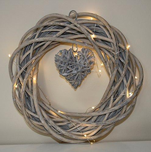 ngenden Herz, Vintage-Look Beleuchtet 20LED Lampen mit 3AA-Batterien Durchmesser: 30 - 35 cm (Stern Kranz)