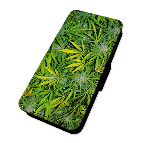 Weed Leaf collage – marijuana Plants – Custodia ad aletta in pelle copertura di carta Apple Iphone X