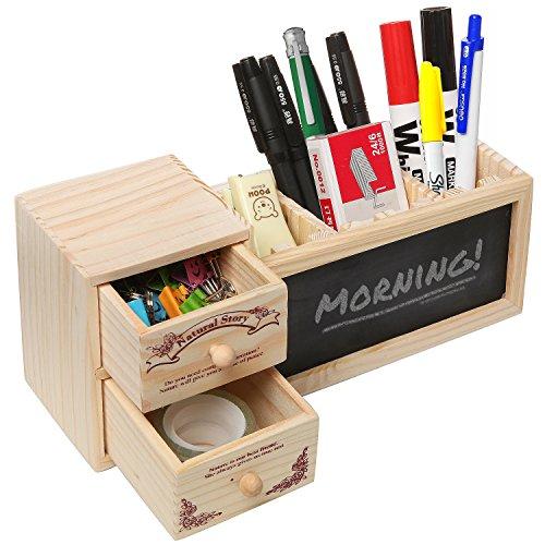 Natur Holz Office Supply Caddy/Bleistift Halterung/Desktop Stationäre Organizer w/Kreidetafel–MyGift