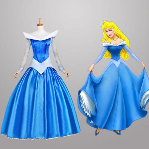 Sunkee Grimm's Fairy Tales Sleeping Beauty Kostüm Prinzessin Aurora Abendkleid Cosplay (Maßgeschneiderte, Blau) (Geben Sie uns Ihr Gewicht, Höhe, Breite Schulter, Taille, Brust und Hüfte (Blau Kostüm Aurora)