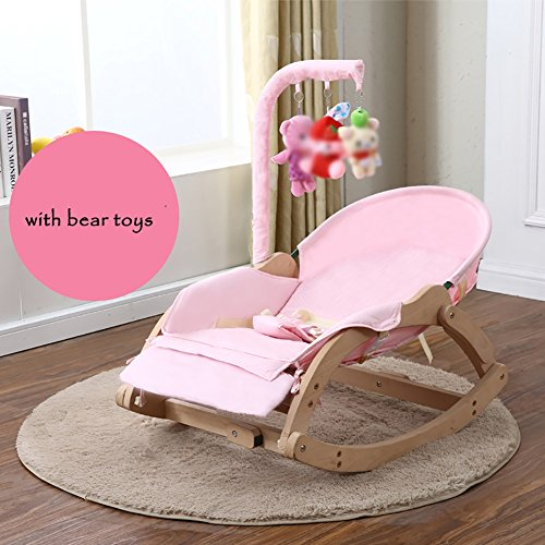 ZJM-Deckchairs Baby Holz Wiege Baby Schaukelstuhl Beruhigen Stuhl Kinder Liegestuhl Rosa. (Farbe : B)
