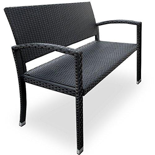 Deuba® Gartenbank Poly Rattan | 2-Sitzer | UV-Lichtbeständig | Sitzkomfort Parkbank Bank Sitzbank