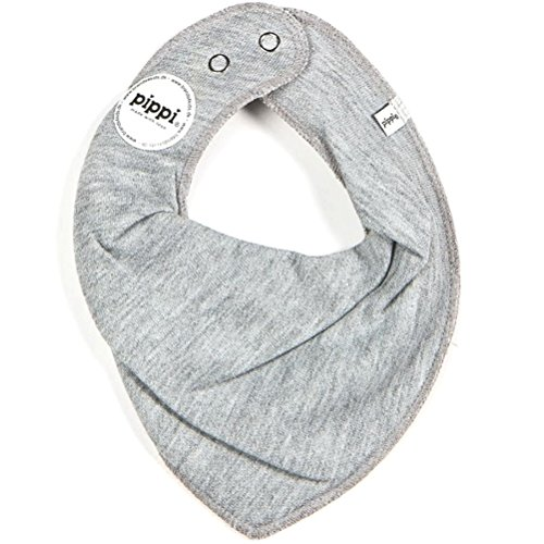 HALSTUCH Dreieckstuch Baby Kinder mit Druckknöpfen doppellagig grau