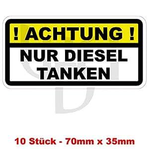 """Lot de 10 """"attention ! dIESEL seulement» autocollant bouchon de réservoir cARBURANT aVERTISSEMENT vinylaufkleber autocollant pVC pour voiture (camion, etc."""