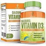 Supplément de Calcium et de Vitamine D3 - Convient aux Végétariens - 90 Comprimés (3 Mois d'Approvisionnement) de Earths Design
