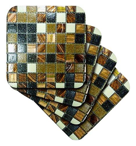 3drose Bild von Gold Kupfer und schwarz metallic Fliesen–weich Untersetzer, Set 4(CST _ 223492_ 1) (3drose Fliesen)