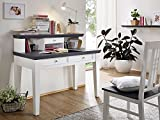 GRAZ Schreibtisch mit Aufsatz weiß lackiert