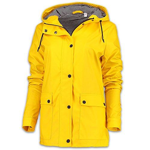 Regen-mantel Yellow Damen (Julia Brown | Modische Damen Regenjacke | in 3 Farben | Uni Farben | Maritimer Look (XL, yellow))