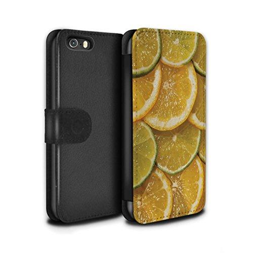 Stuff4 Coque/Etui/Housse Cuir PU Case/Cover pour Apple iPhone SE / Cassis Design / Fruits Juteux Collection Citron & Citron Vert