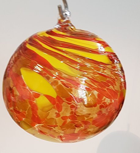 Kugel zum hängen bunte Glaskugel gelb orange mundgeblasenes Kristallglas Fensterdekoration Durchmesser ca. 13 cm Oberstdorfer Glashütte