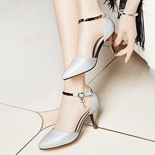 Donna bocca di pesce scarpe estate ragazze sandalo ,40 nero Silver