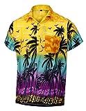 """Virgin Crafts Camicia Maniche Corte hawaiane da Uomo di Cocco con Stampa Cocco Aloha Party Shirts, yellowm, l   Petto: 46"""""""