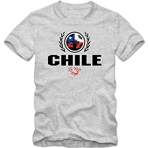 Fußball Chile V2 T-Shirt   Fußball   Herren   La Roja   Wappen   Trikot   Nationalmannschaft © Shirt Happenz Graumeliert (Grey Melange L190)