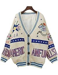 SGHTRHXUT suéter Suéter de Punto Medio Fuera del Cuello v Pegatina Largo Medio suéter de Punto Cardigan Hija, Arroz Blanco, Código Uniforme