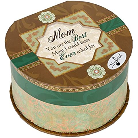 Cottage Garden Mom Belle Papier Round Musical Jewelry Box with Elegance Finish Plays Wind Beneath My Wings by Belle Papier