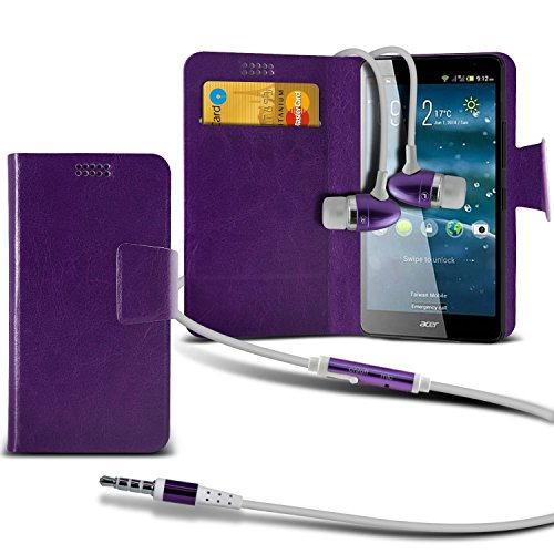 ( White +Earphones) Case for iPhone 7 Plus Mobile Phone case cover pouch High Quality Thin Faux Leather Suction Pad Wallet case Cover Skin With Credit/Debit Card Slots With Premium Quality in Ear Buds Suction wallets + earphones (purple)