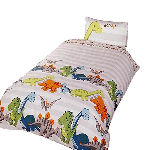 Dinosaur Childrens/Boys Duvet Cover Bedding Set (Single Bed) (Natural)