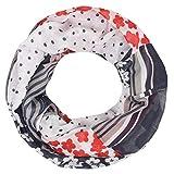 INTERMODA Blumen Punkte Loop Schal Damen Frühling I Schlauchschal mit Blüten Linien Striche I edles Punkte Blumen Halstuch Damen Marine Weiß Blau Rot