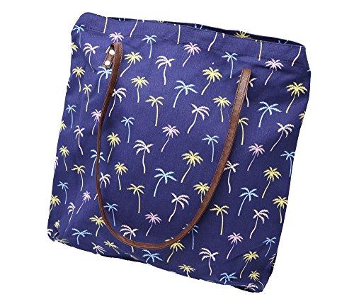 ATB02 - Tote Bag Sac Fourre-Tout Epaule Tissu Imprimé Palmiers Bleu Marine