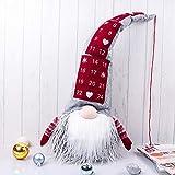 Valery Madelyn 83cm Stoff Adventskalender Weihnachtsdekoration mit Wichtel Zwerg GNOME Gonk Dekofigur Countdown Weihnachtskalender Weihnachtsdeko mit 24 Beutel Nordische Stimmung Thema - Rot Grau