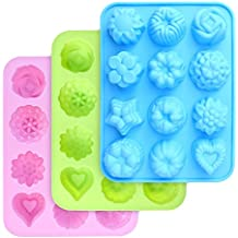 homEdge Moldes de silicona de grado alimenticio, moldes para hornear con flores y forma de