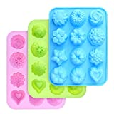homEdge silicone cottura stampi di fiori, con fiori e a forma di cuore antiaderente stampi, confezione da pezzi, per cioccolato, caramelle, gelatina, cubetti di ghiaccio, muffin (rosa, blu e verde)